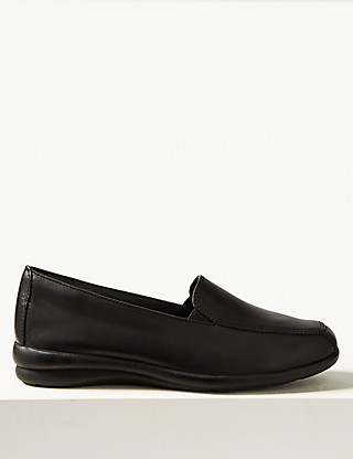 Leather Wedge Heel Loafers Clothing