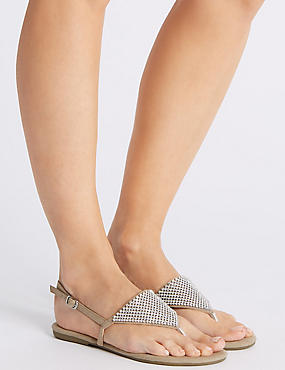 Buckle Chain Mail Sandals, NATURAL, catlanding