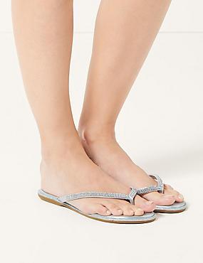 Diamanté Flip-flops Sandals , SILVER, catlanding