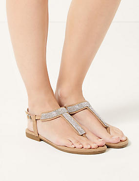T-Bar Embellished Sandals, NATURAL, catlanding