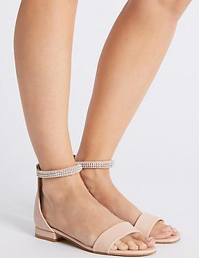 Jewel Ankle Strap Sandals, NUDE, catlanding