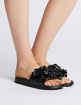 Jewel Flower Sliders, BLACK, catlanding