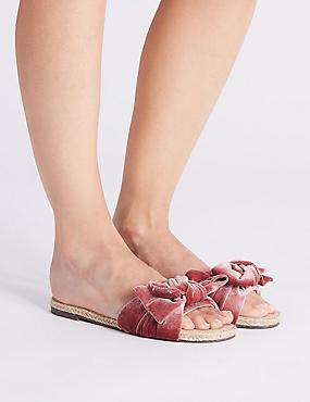 Velvet Bow Mule Sandals , PINK, catlanding