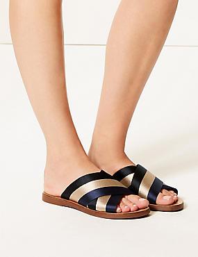 Cross Front Slide Sandals , BLUE MIX, catlanding