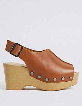 Wide Fit Leather Wedge Heel Sandals