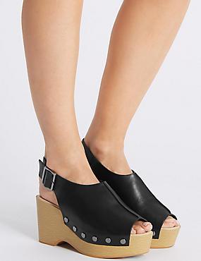Wide Fit Leather Wedge Heel Sandals, BLACK, catlanding