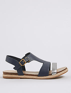 Wide Fit Leather Rope Detail Sandals