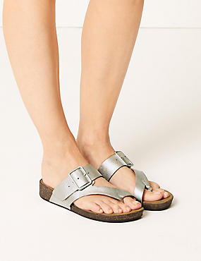 Wide Fit Leather Flip-flops Sandals, METALLIC, catlanding