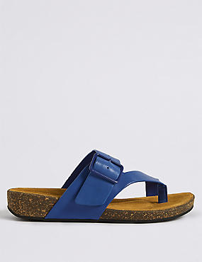 Wide Fit Leather Toe Thong Mule Sandals