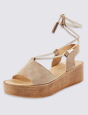 Stain Away™ Suede Two Part Wedge Sandals