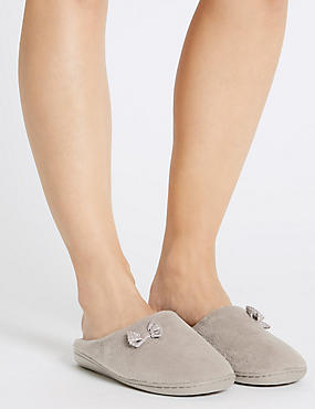 Spotted Bow Mule Slippers