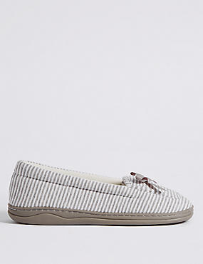 Striped Moccasin Slippers