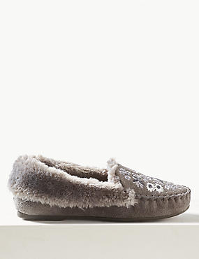 Embroidered Moccasin Slippers, GREY MIX, catlanding