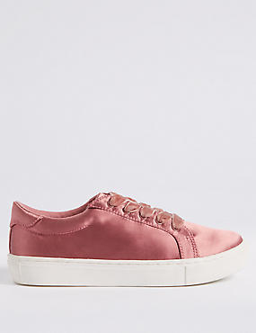 Lace-up Satin Velvet Trainers
