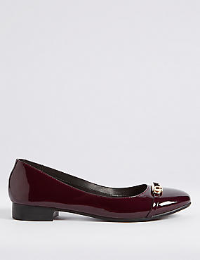Trim Round Toe Ballerina Pumps