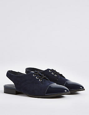 Block Heel Lace-up Sling Back Loafers