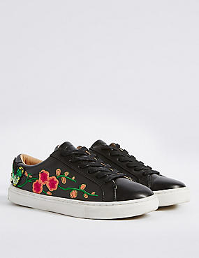 Floral Embroidered Trainers