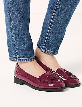 Wide Fit Block Heel Tassel Loafers , LIGHT WINE, catlanding
