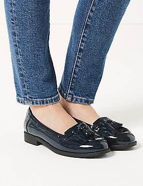 Wide Fit Block Heel Tassel Loafers , NAVY, catlanding