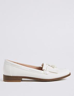 Tassel Loafers, WHITE, catlanding