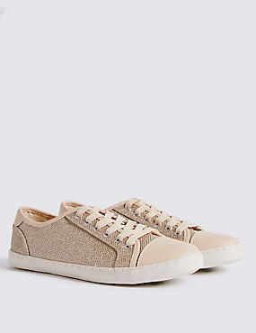 Lace-up Glitter Toe Cap Trainers