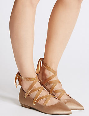 Lace-up Pointed Satin Pump Shoes