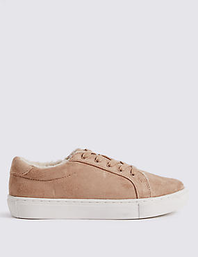 Fur Lace-up Trainers