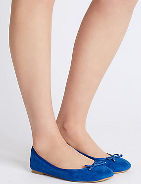 Bow Ballerina Pumps, BLUE, catlanding