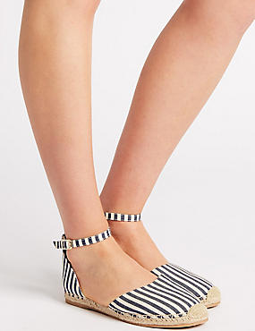 Jute Stitch Detail Striped Espadrilles