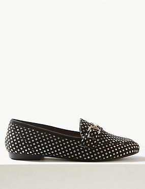 Spotted Metal Trim Loafers, BLACK MIX, catlanding