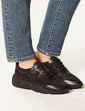 Star Detail Lace-up Trainers, WINE MIX, catlanding