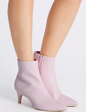 Kitten Heel Side Zip Ankle Boots, PINK, catlanding