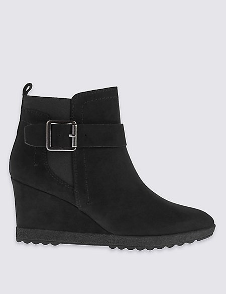 Wedge Buckle Ankle Boots with Insolia®