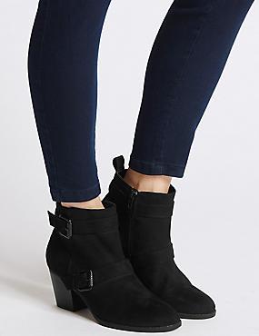 Block Heel Side Zip Ankle Boots, BLACK, catlanding