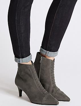 Kitten Heel Point Toe Ankle Boots