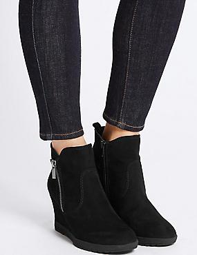 Wedge Heel Ankle Boots, BLACK, catlanding