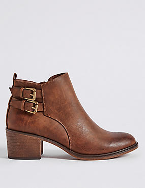 Block Heel Double Buckle Ankle Boots