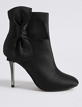 Stiletto Side Zip Bow Ankle Boots
