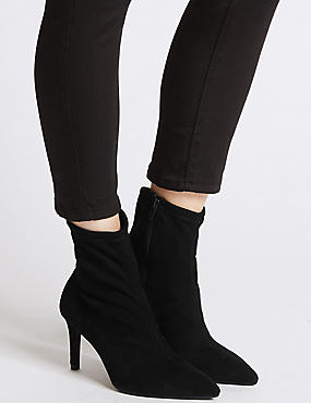 Stiletto Heel Stretch Ankle Boots