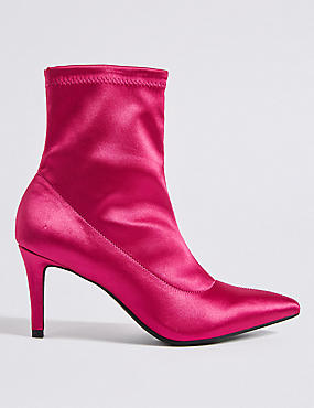Stiletto Heel Side Zip Stretch Ankle Boots