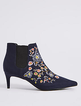 Kitten Heel Floral Embroidered Ankle Boots