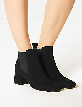 Block Heel Square Toe Chelsea Boots, BLACK, catlanding