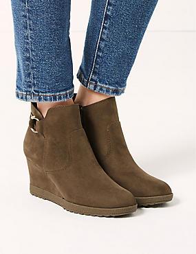 Wedge Heel Ankle Boots, MINK, catlanding