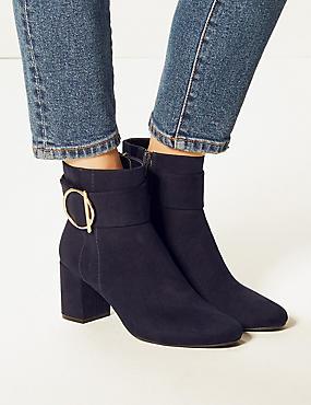 Block Heel Side Zip Ankle Boots, NAVY, catlanding