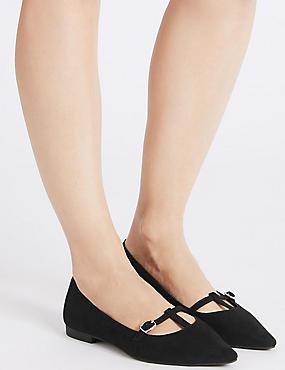 Pointed T-Bar Pump Shoes, BLACK, catlanding