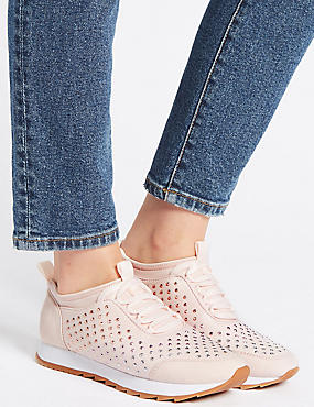 Lace-up Trainers with Insolia®, PINK, catlanding