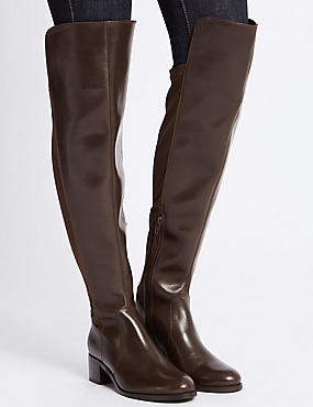 Leather Block Heel Over the Knee Boots