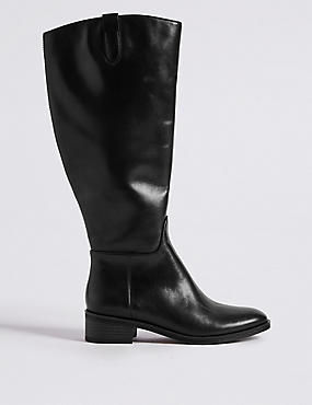 Leather Block Heel Rider Knee High Boots