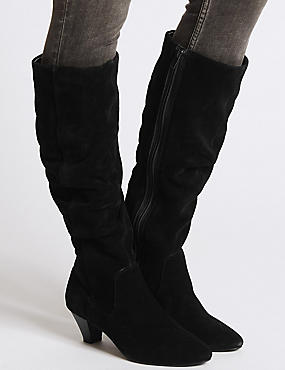 Leather Ruched Knee High Boots
