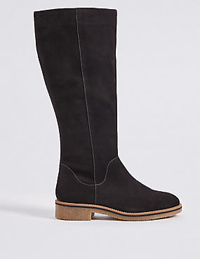 Suede Block Heel Knee High Boots